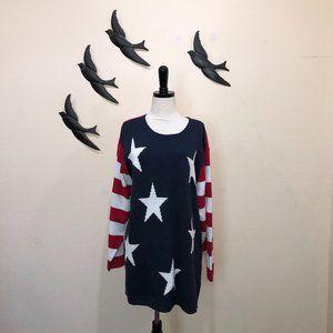 🆕Quacker Factory Stars & Stripes Flag Sweater 1X